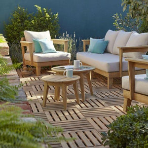 Modern Outdoor Teak Look Sofa Set with White Cushions