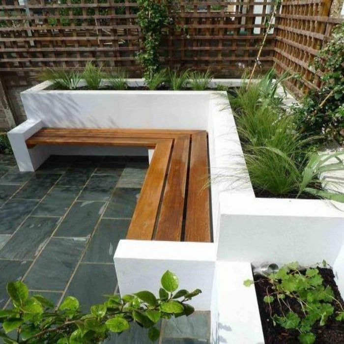 Fixed Wall-Mounted Wooden Bench with Civil Planters at back for Small Spaces