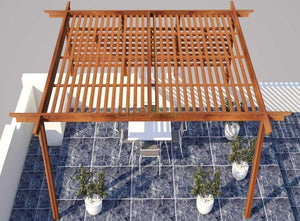 Self Supporting Pinewood Pergola - 100% Water And Termite Proof (In Sqft)