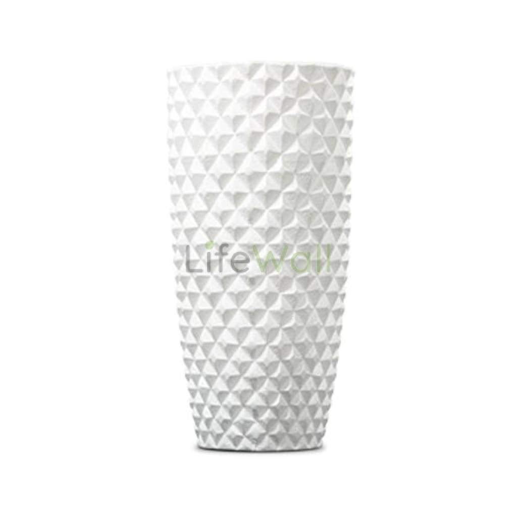 Tall Round Frp Planter 24 Inch (3D Diamond Pattern) - White