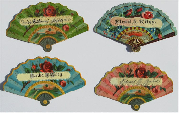 Brightly Colored Fan Shaped Calling Cards