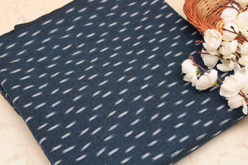 Ikkat Cotton Fabric - Navy Denim