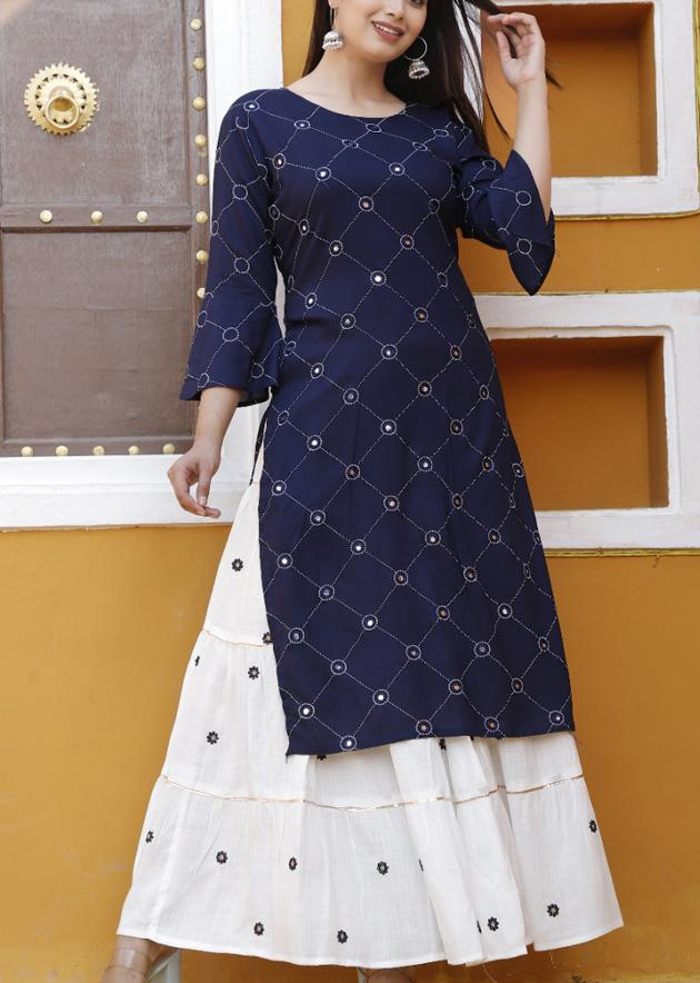 Blue kurti and white skirt with foil embroidery work - STUDIO PEHEL