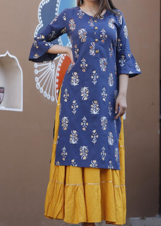 Blue printed kurti with flared sharara - STUDIO PEHEL