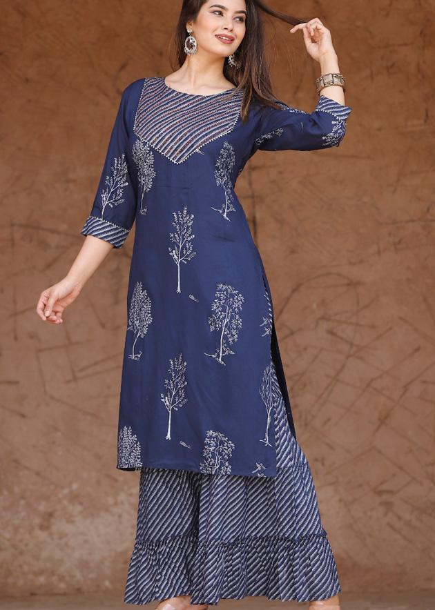 Blue printed kurti and palazzo with gota lace and handwork - STUDIO PEHEL