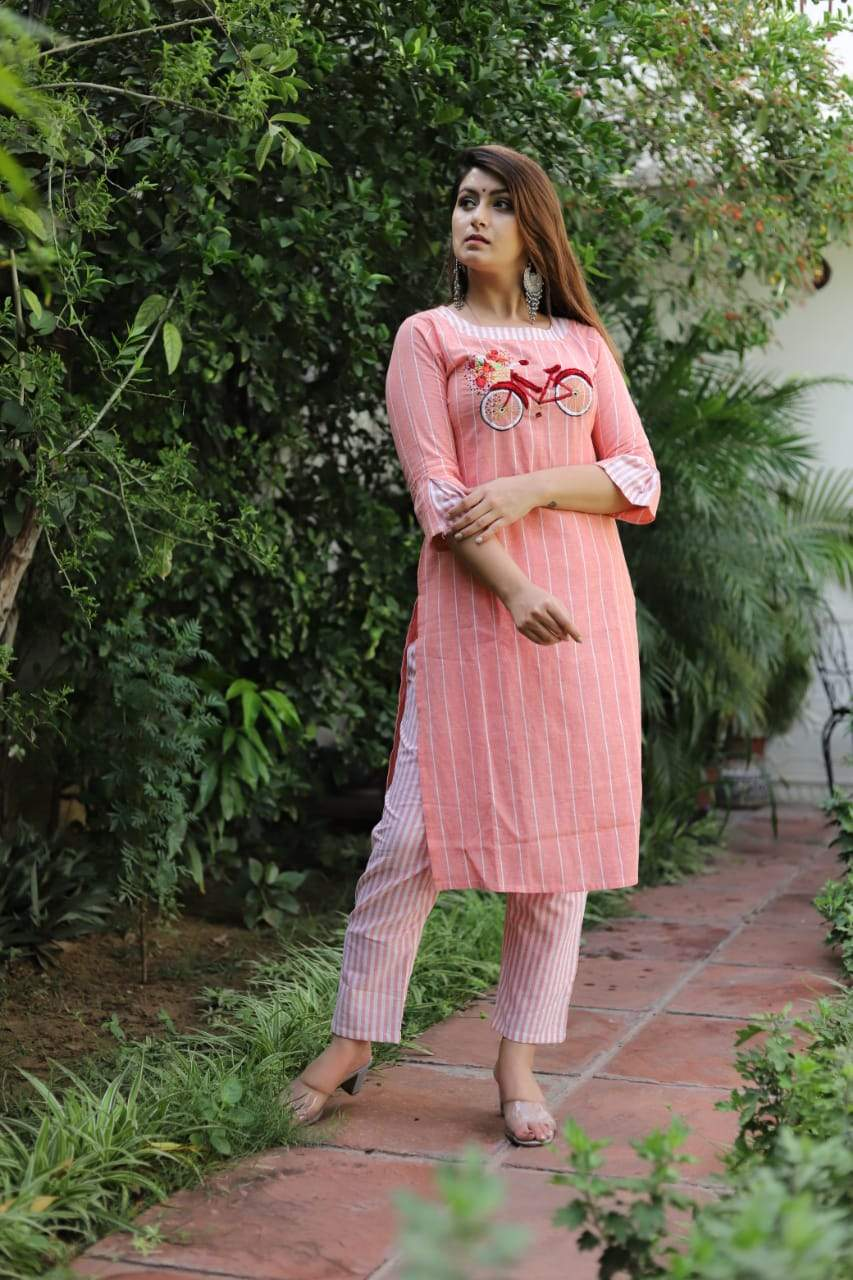 Peach Cotton flex Kurti