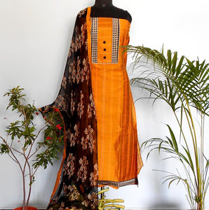 Ruhi golden yellow/black salwar set - STUDIO PEHEL