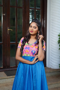 Floral Pink & blue chanderi silk flare dress - STUDIO PEHEL