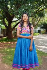 Load image into Gallery viewer, Floral Pink & blue chanderi silk flare dress - STUDIO PEHEL