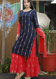 Dark blue kurti, red sharara and stole with beautiful handwork and prints - STUDIO PEHEL