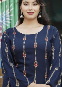 Dark blue kurti, red sharara and stole with beautiful handwork and prints