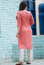 Load image into Gallery viewer, Cotton pink kurti and off-white pant with gota lace work and prints - STUDIO PEHEL