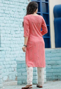 Cotton pink kurti and off-white pant with gota lace work and prints - STUDIO PEHEL