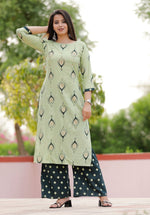 Load image into Gallery viewer, Foil print green kurti - STUDIO PEHEL