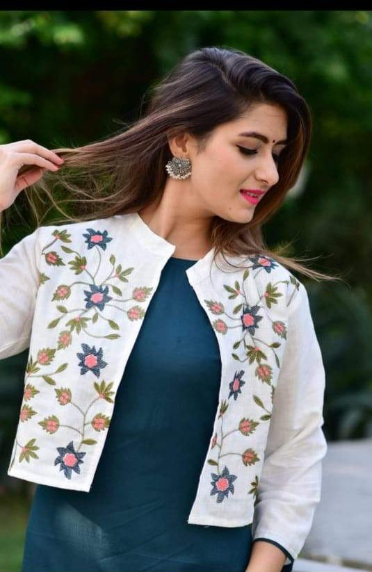 Green kurti with white floral shrug - STUDIO PEHEL