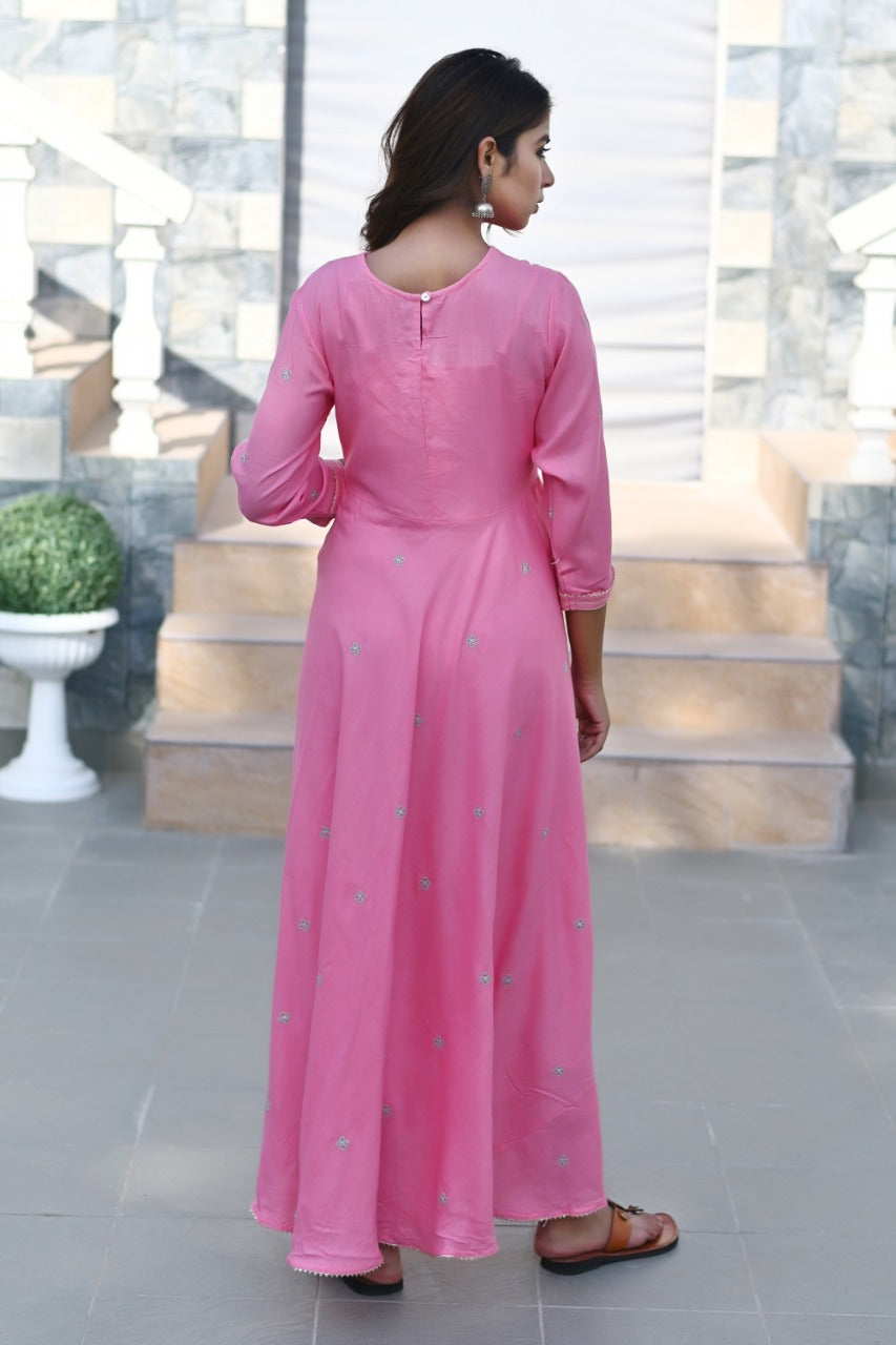 Bubblegum pink full length flare kurti
