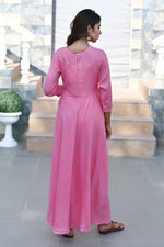 Load image into Gallery viewer, Bubblegum pink full length flare kurti