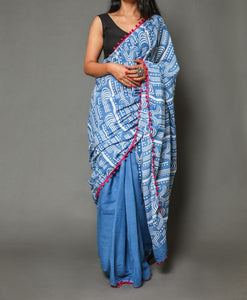 Naira soft cotton sarees-Silent blue