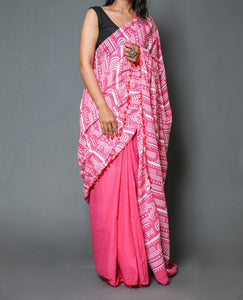 Naira soft cotton sarees-gummy pink