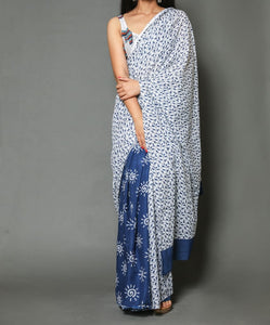 Naira soft cotton sarees-White floral with blue