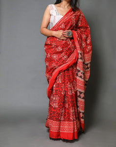Naira soft cotton sarees- brick red