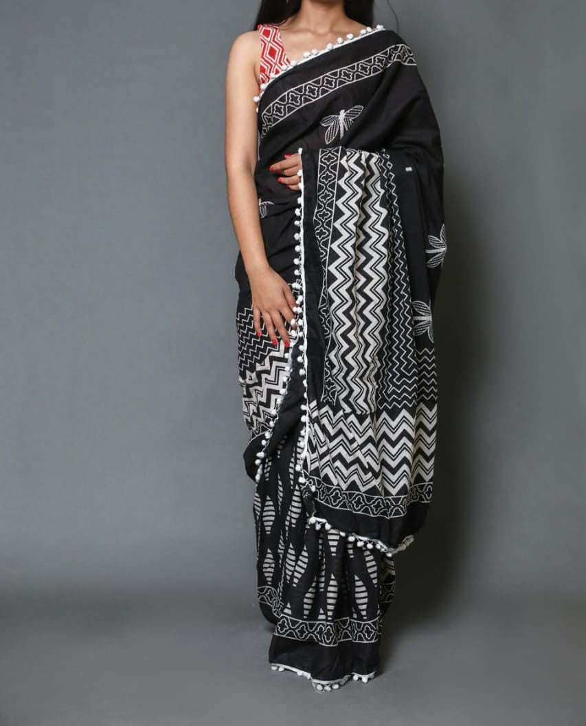 Naira soft cotton sarees- black butterfly