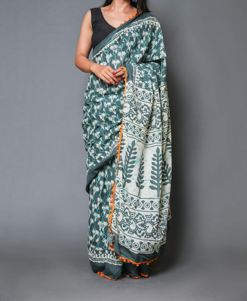 Naira soft cotton sarees- jade