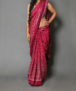 Naira soft cotton sarees- plum mocha