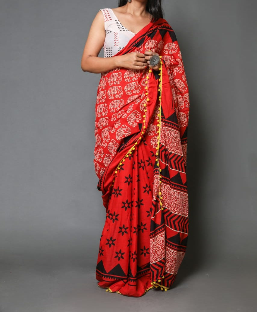 Naira soft cotton sarees- brick red dual pattern