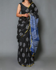 Naira soft cotton sarees- black mandala