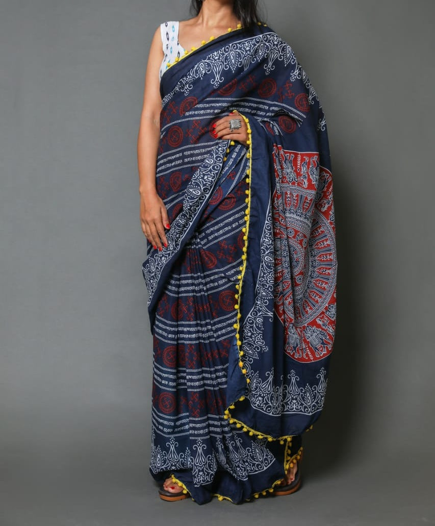 Naira soft cotton sarees- blue & red crosslines