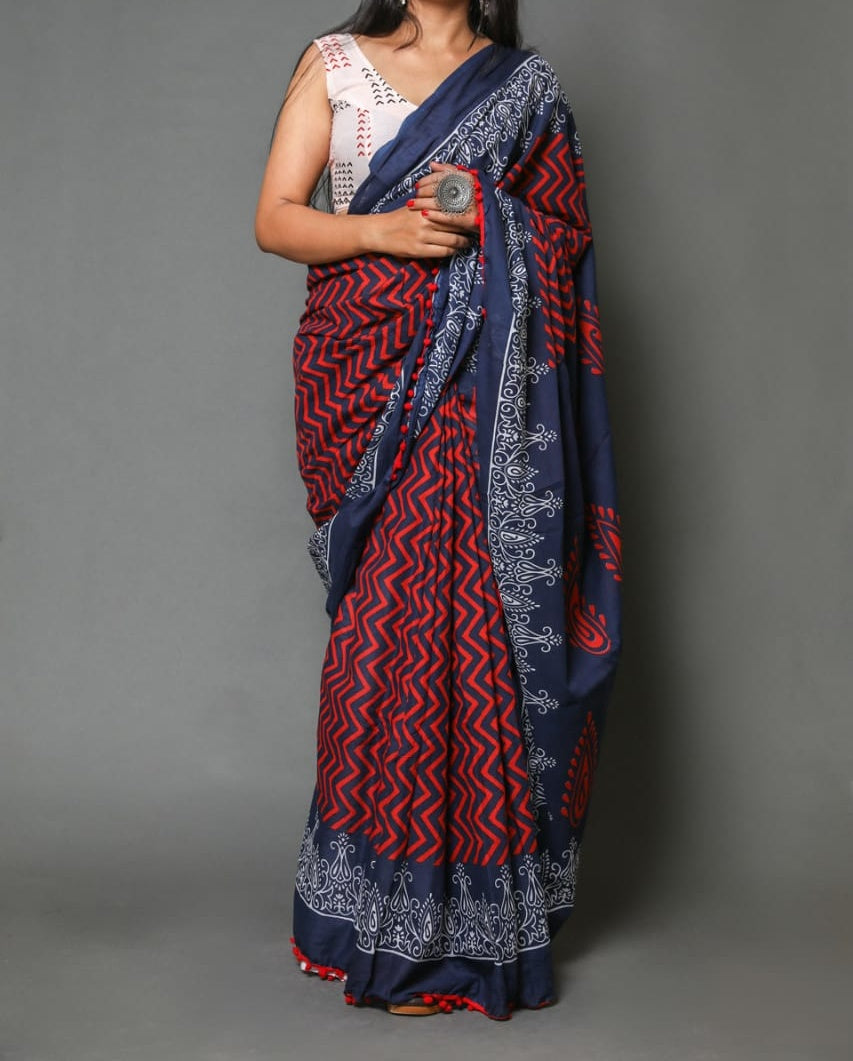 Naira soft cotton sarees- red & blue wavy
