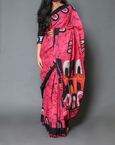 Naira soft cotton sarees - pink & black shibori