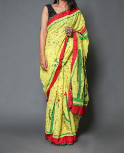 Naira soft cotton sarees - lime yellow & green