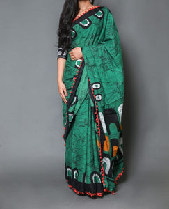 Naira soft cotton sarees - green & black shibori