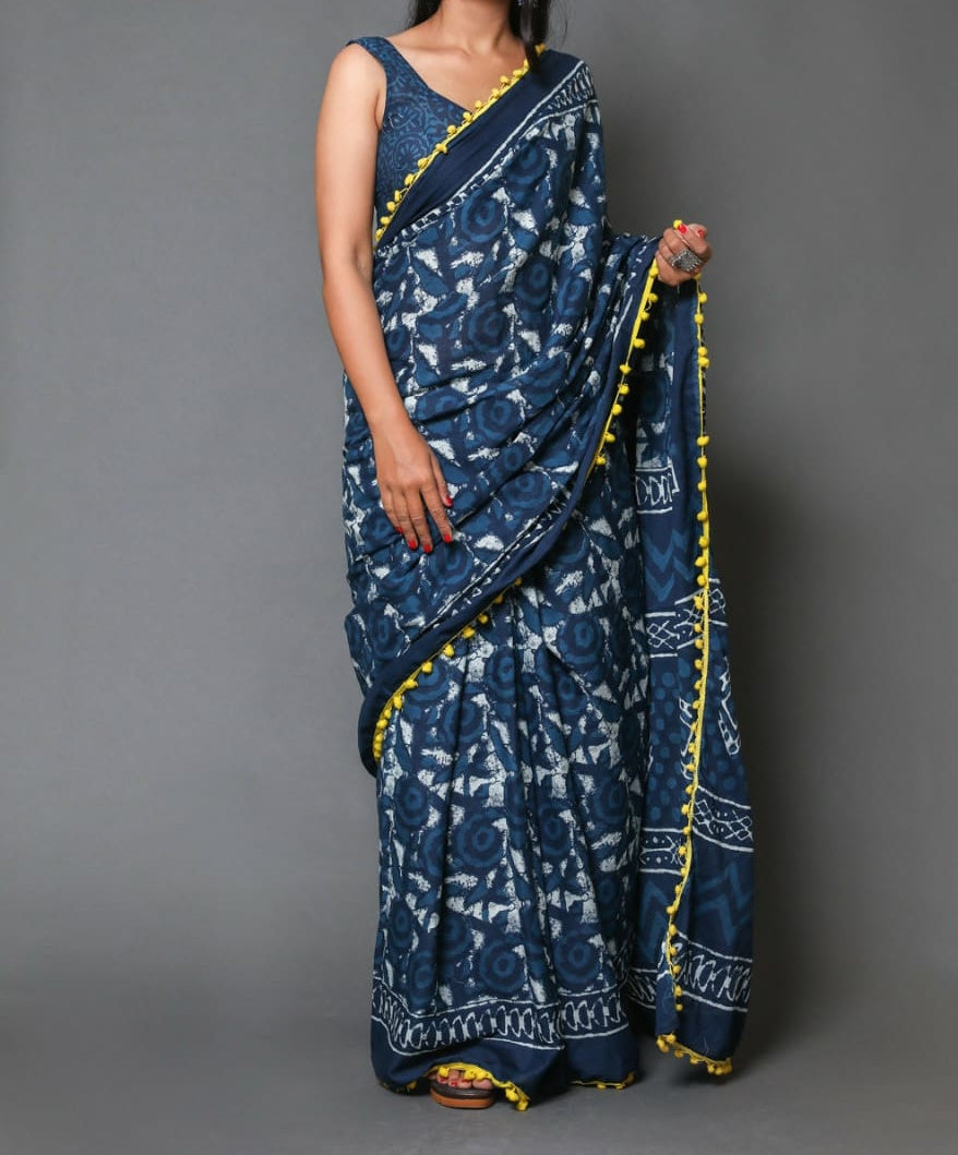 Naira soft cotton sarees - indigo printed yellow