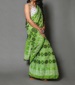 Naira soft cotton sarees- leaf green