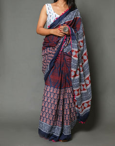 Naira soft cotton sarees- double pattern ajrakh