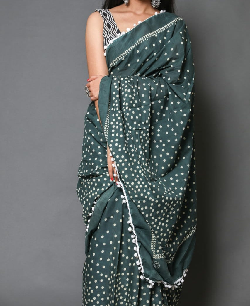 Naira soft cotton sarees- jade polka