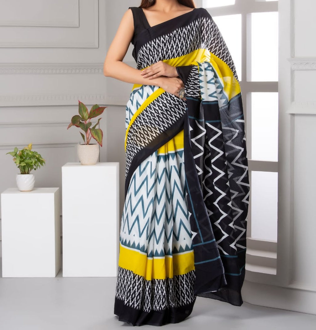 Mira soft cotton sarees- grey & yellow stripes