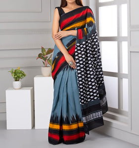 Mira soft cotton sarees- mukam grey & black red