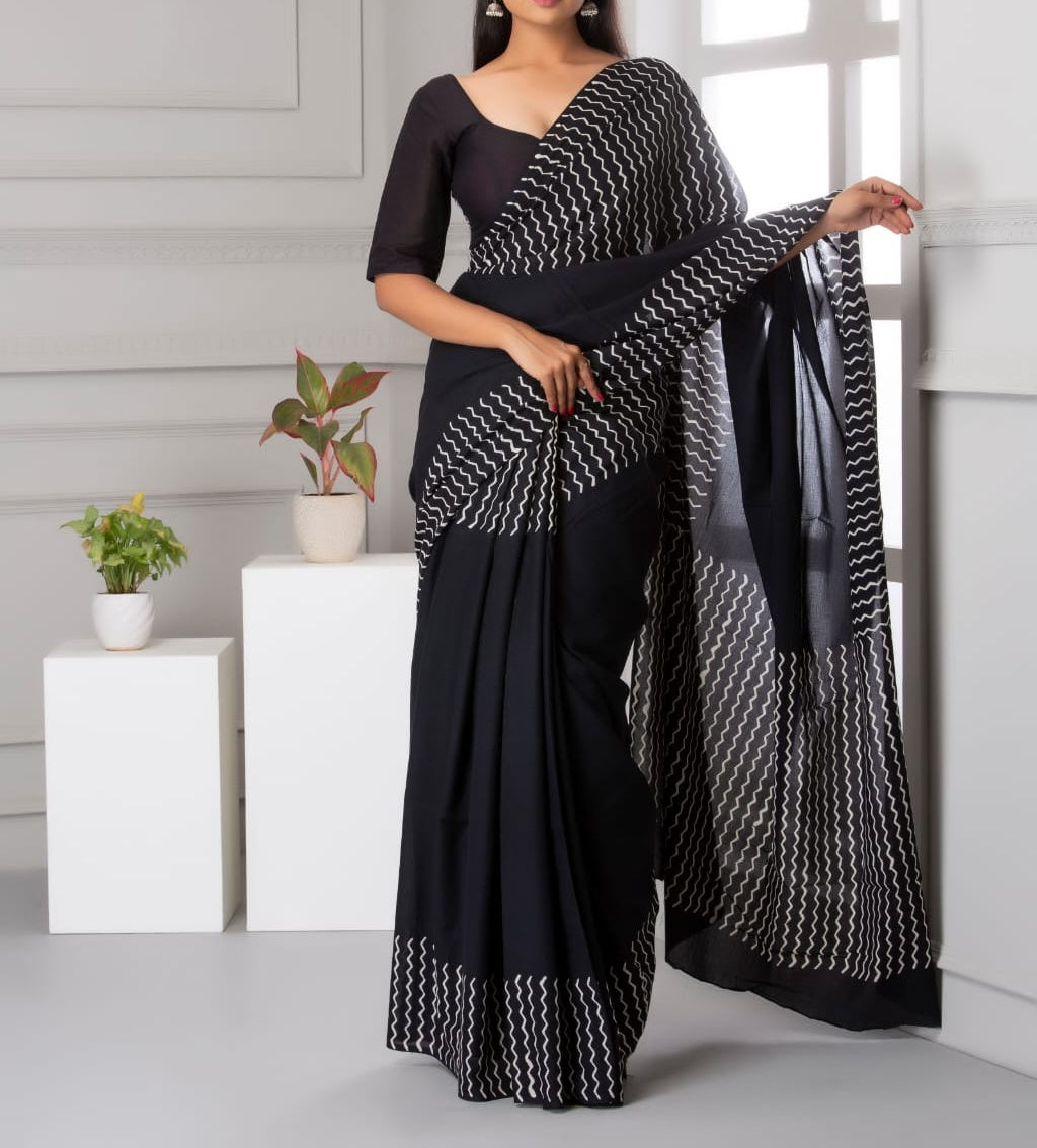 Mira soft cotton sarees- royal black wavy
