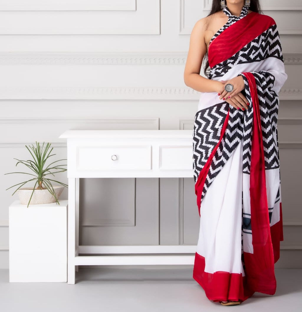 Mira soft cotton sarees-white & red mukam