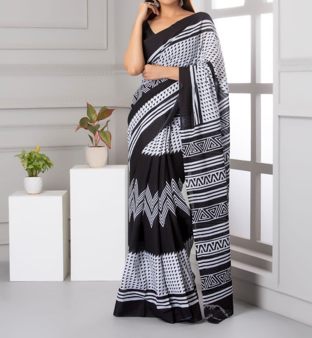 Mira soft cotton sarees- Black & white wave dual