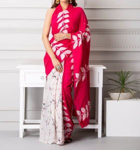 Mira soft cotton sarees- white & pink dual olive leaves