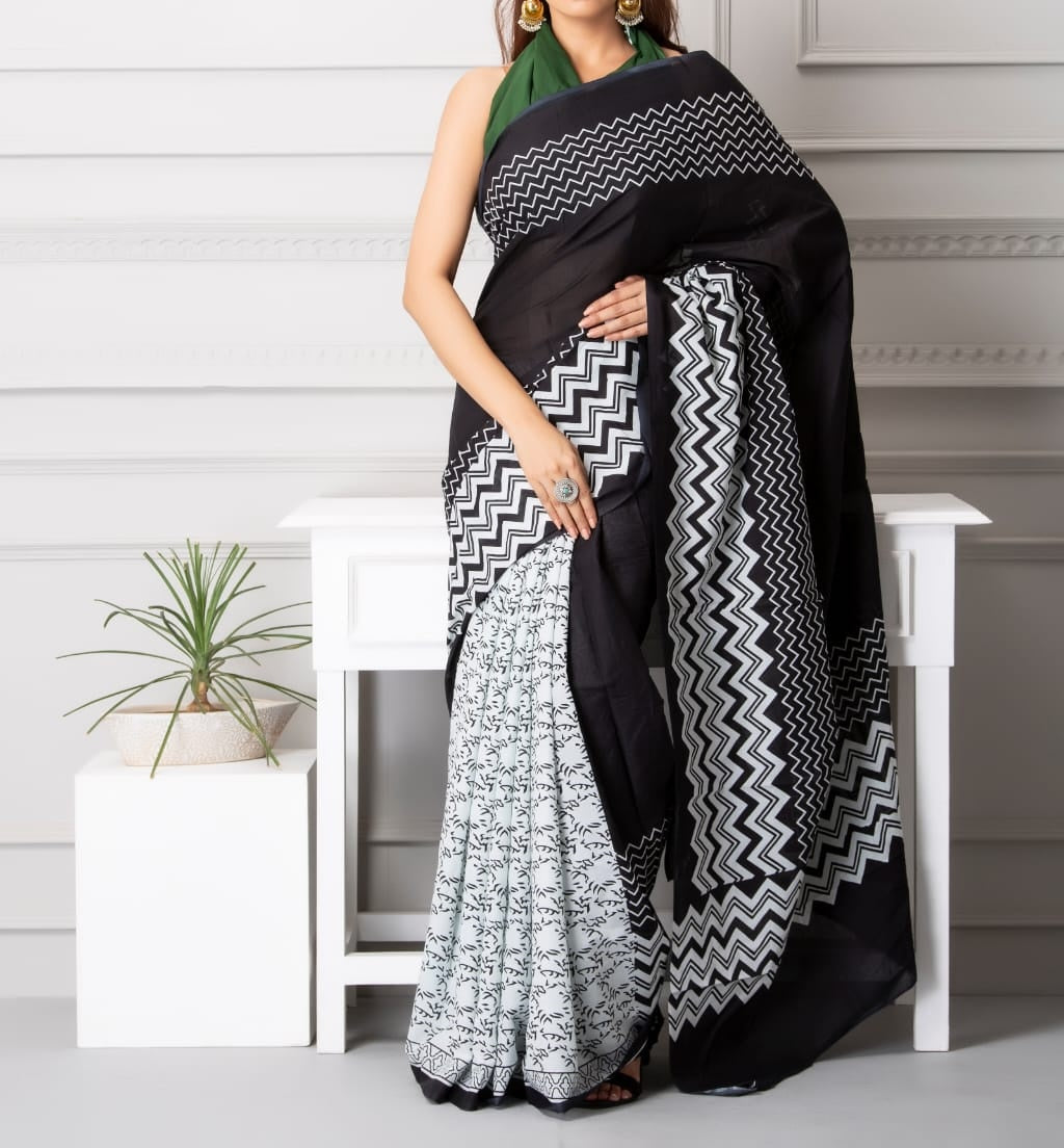 Mira soft cotton sarees- white cross stripes dual