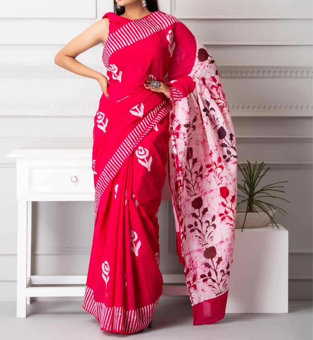 Mira soft cotton sarees- berry tulip