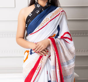 Mira soft cotton sarees- beige motif