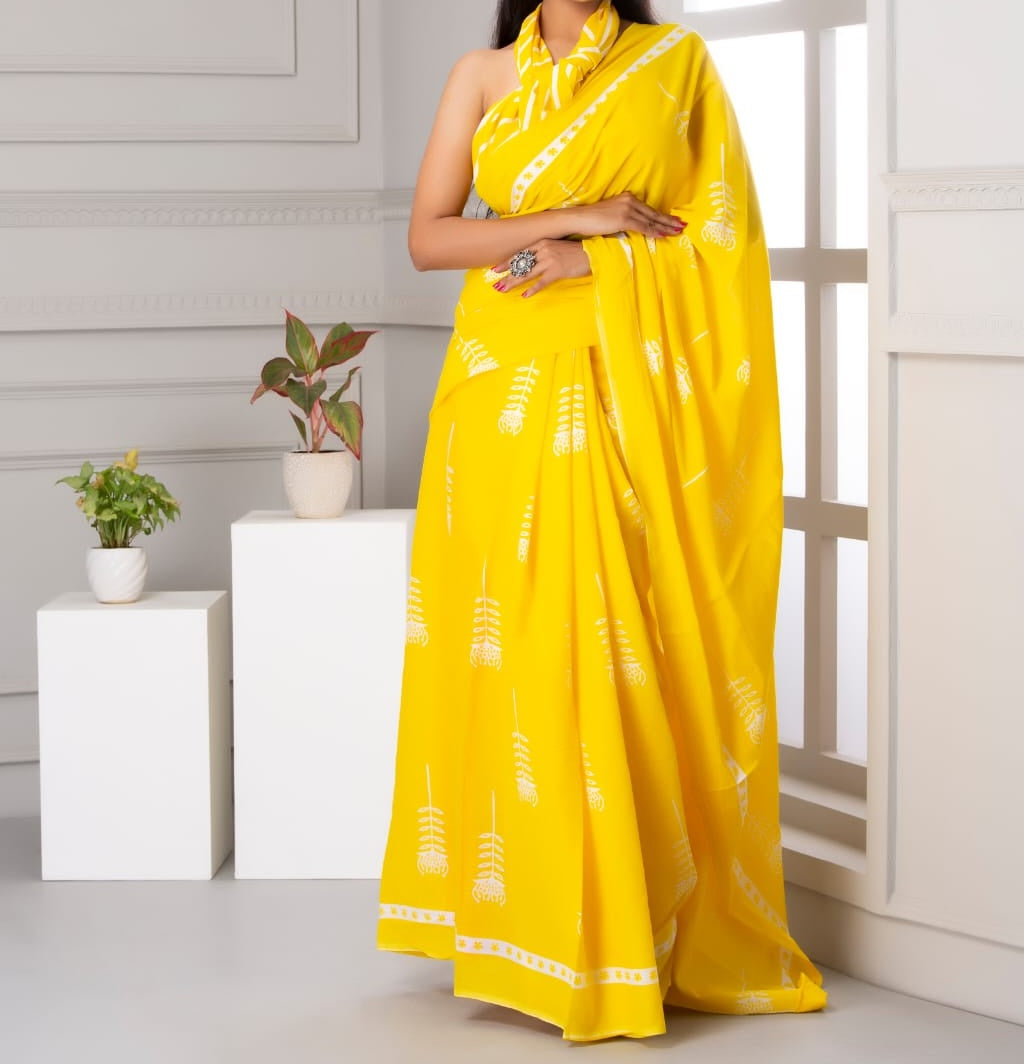 Mira soft cotton sarees- sunflower