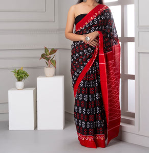 Mira soft cotton sarees-red & black dual